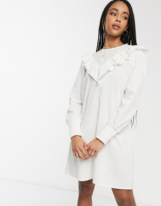Monki ruffle detail smock dress in white