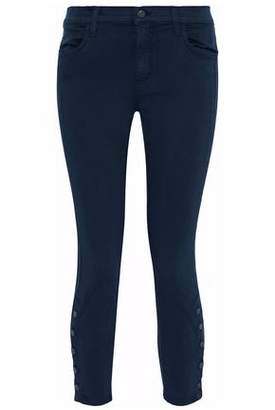 J Brand Cropped Button-detailed High-rise Slim-leg Jeans