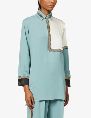 Max Mara Metallic-trimmed silk-crepe shirt