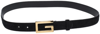 Gucci Black Suede and Leather G Buckle Belt 90CM