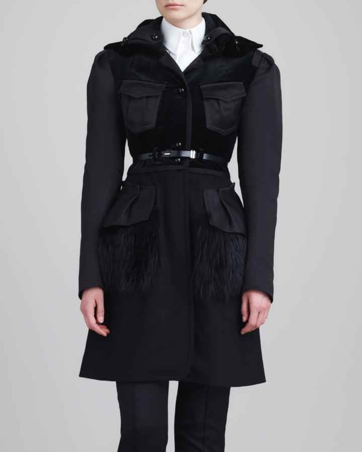 Jason Wu Fox Fur-Peplum Coat, Black