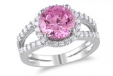 Ice 5 1/4 CT Pink and White Cubic Zirconia Sterling Silver Ring
