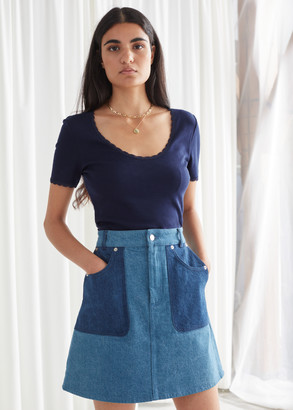 And other stories Ribbed Lace Trim T-Shirt