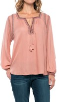 Lucky Brand Embroidered Peasant Top - Long Sleeve (For Women)