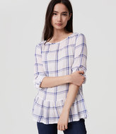LOFT Plaid Tab Sleeve Peplum Blouse