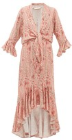 Adriana Degreas Aloe-print Tie-front Twill Dress - Womens - Pink Print