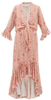 Adriana Degreas Aloe-print Tie-front Twill Dress - Pink Print