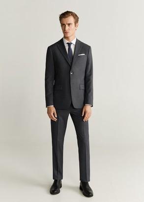 MANGO MAN - Regular fit microstructure suit blazer grey - 36 - Men