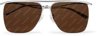 Balenciaga Aviator-Style Logo-Print Ruthenium Sunglasses