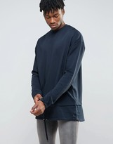 Asos Extreme Longline Sweatshirt With Double Layer Hem