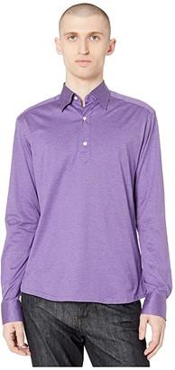 Eton Long Sleeve Jersey Popover (Purple) Men's Clothing