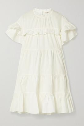 Ulla Johnson Leonie Ruffled Cotton-poplin Mini Dress - White
