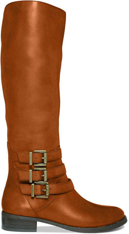 INC International Concepts Women's Francy 3-Buckle Wide Calf Riding Boots