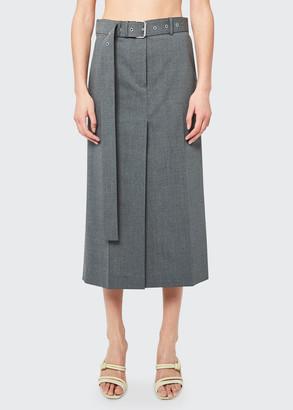 Helmut Lang Belted Trouser Midi Skirt