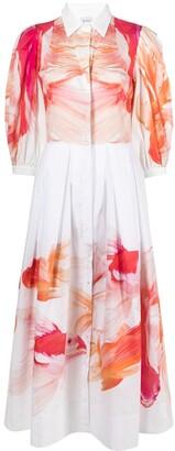 Sara Roka Graphic-Print Midi Shirt Dress