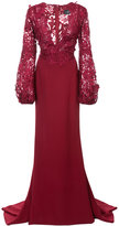 J. Mendel guipure lace V-neck trumpet gown - women - Polyester/Silk Crepe - 4