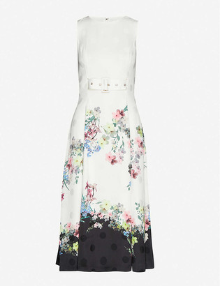 Ted Baker Pergola belted floral-print satin midi dress