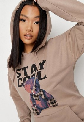 Missguided Sand Stay Cool Graphic Hoodie