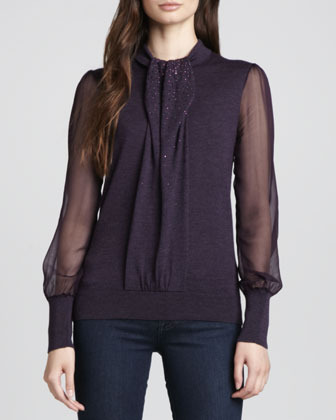 Tory Burch Abitha Knit/Silk Sweater, Plum