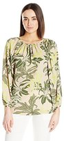 Vince Camuto Women's Long-Sleeve Wildflower Bloom Shirred-Neck Blouse