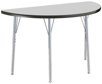 """Factory Thermo-Fused Contour Adjustable 48"""" x 24"""" Half-Circle Activity Table Direct Partners Tabletop Finish: Gray, Side Finish: Black"""