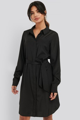 NA-KD Long Sleeve Belted Shirt Dress