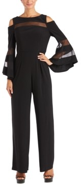 R & M Richards Petite Illusion Cold-Shoulder Jumpsuit