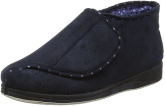 Padders Cherish EE Wide Fitting Womens Memory Foam Slippers - UK4 - Navy