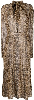 Saint Laurent Leopard Print Silk Sheer Dress