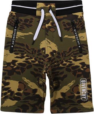 Givenchy Boy's Camo-Print Logo Drawstring Shorts, Size 4-10