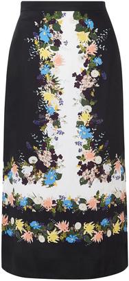Erdem Maira Floral-print Silk-crepe Midi Pencil Skirt
