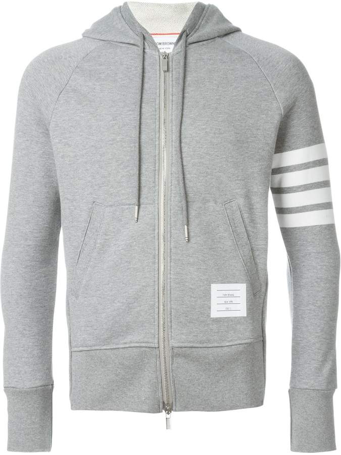 Thom Browne classic full zip hoodie with engineered 4-bar in classic loop back light grey