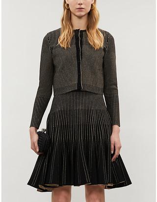 Oscar de la Renta Cropped metallic-stripe stretch-knit cardigan
