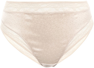Eres Farniente Ivresse Satin-jacquard And Stretch-leavers Lace Mid-rise Briefs