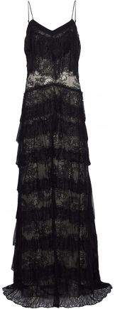 Haute Hippie Tiered Silk-Trimmed Chantilly Lace Gown