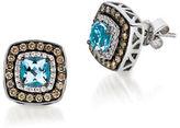 LeVian Le Vian Diamond and Aquamarine Chocolatier Earrings, 0.51 TCW