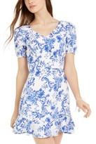City Studios Juniors' Floral-Print Cutout-Back Dress