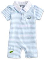 Kissy Kissy Mini Golf Striped Pima Collared Shortall, Blue, Size 3-24 Months