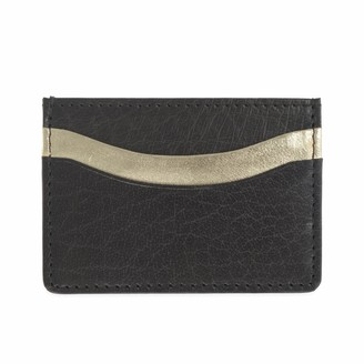 Vida Vida Zing Black and Gold Leather Card Holder
