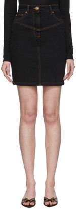 Versace Black Denim High-Waisted Skirt