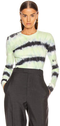 Proenza Schouler White Label Tie Dye Long Sleeve Tee in Black & Celery Tie Dye | FWRD
