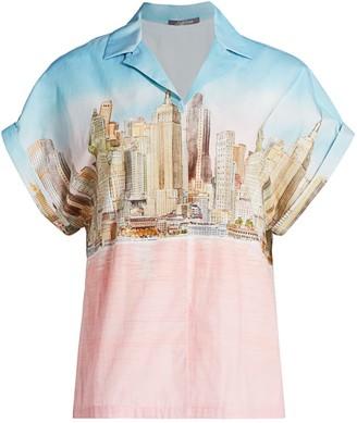 Lela Rose NYC Skyline Cotton Poplin Shirt