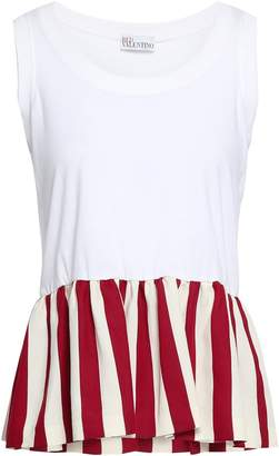 RED Valentino Striped Twill-paneled Cotton-jersey Peplum Top