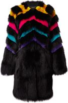 Matthew Williamson Rainbow Black Fox Fur Coat