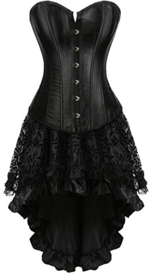 Lotus Instyle Satin Lace up Back Corset Dress Long Bustier Clubwear