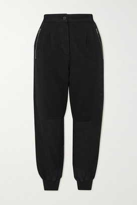 Haider Ackermann Cropped Cotton-jersey And Poplin Track Pants - Black