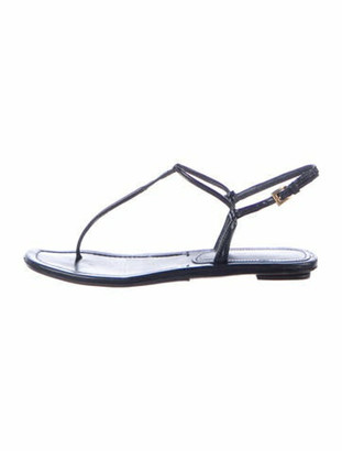 Prada Leather T-Strap Sandals Black
