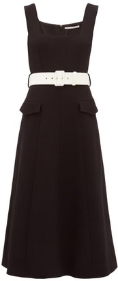Emilia Wickstead Petra Belted Wool-crepe Midi Dress - Womens - Black White
