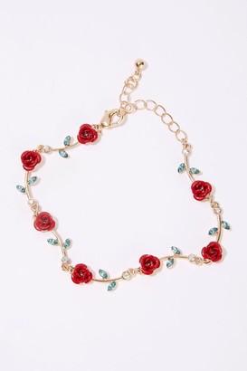 Forever 21 Rose Charm Faux Gem Bracelet