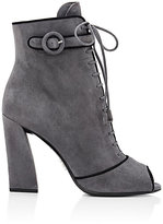 Prada Women's Piped Lace-Up Ankle Boots-LIGHT GREY